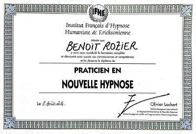 Diplôme NOUVELLE HYPNOSE