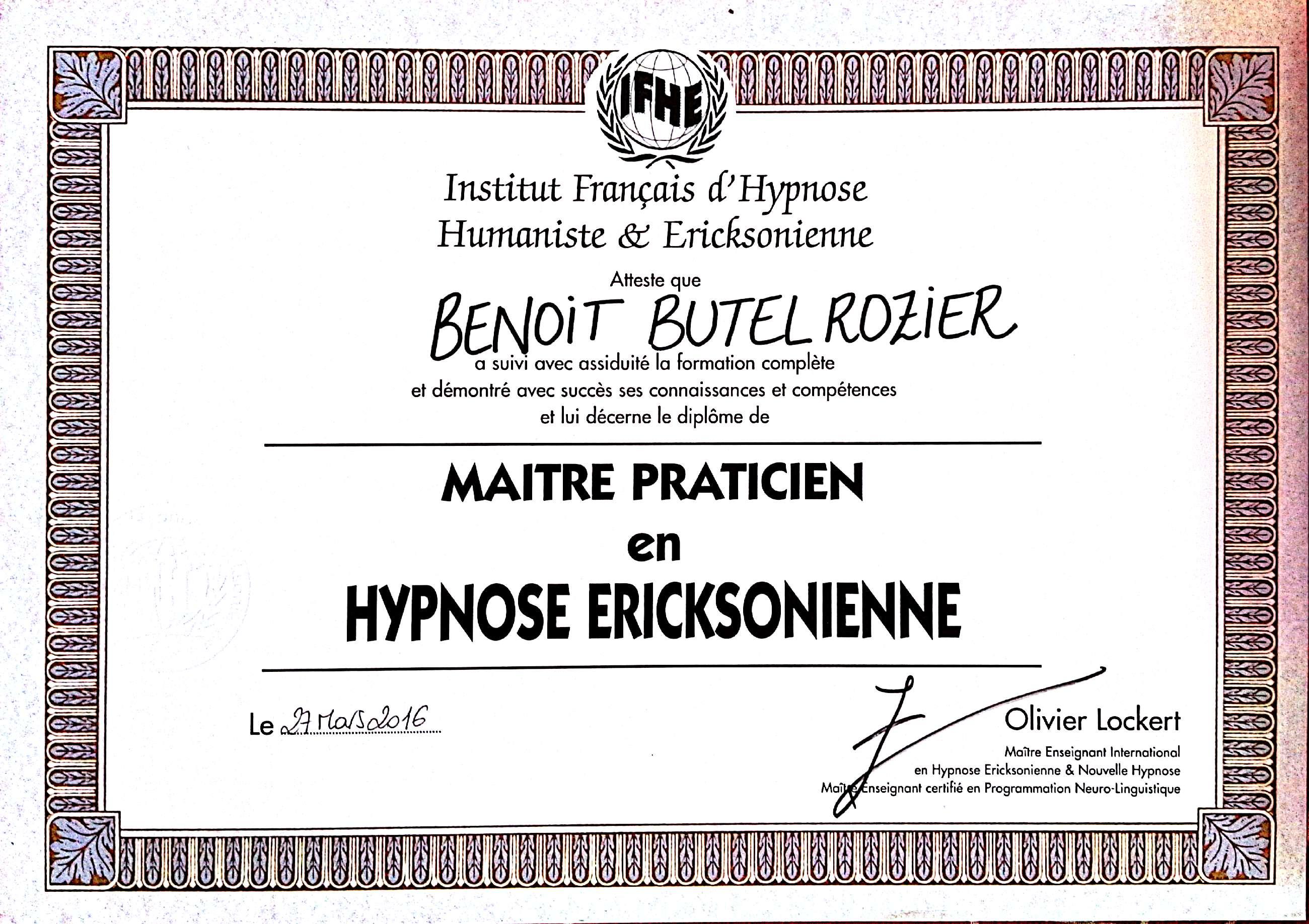 Maître Praticien Hypnoses Hypnose Ericksonienne