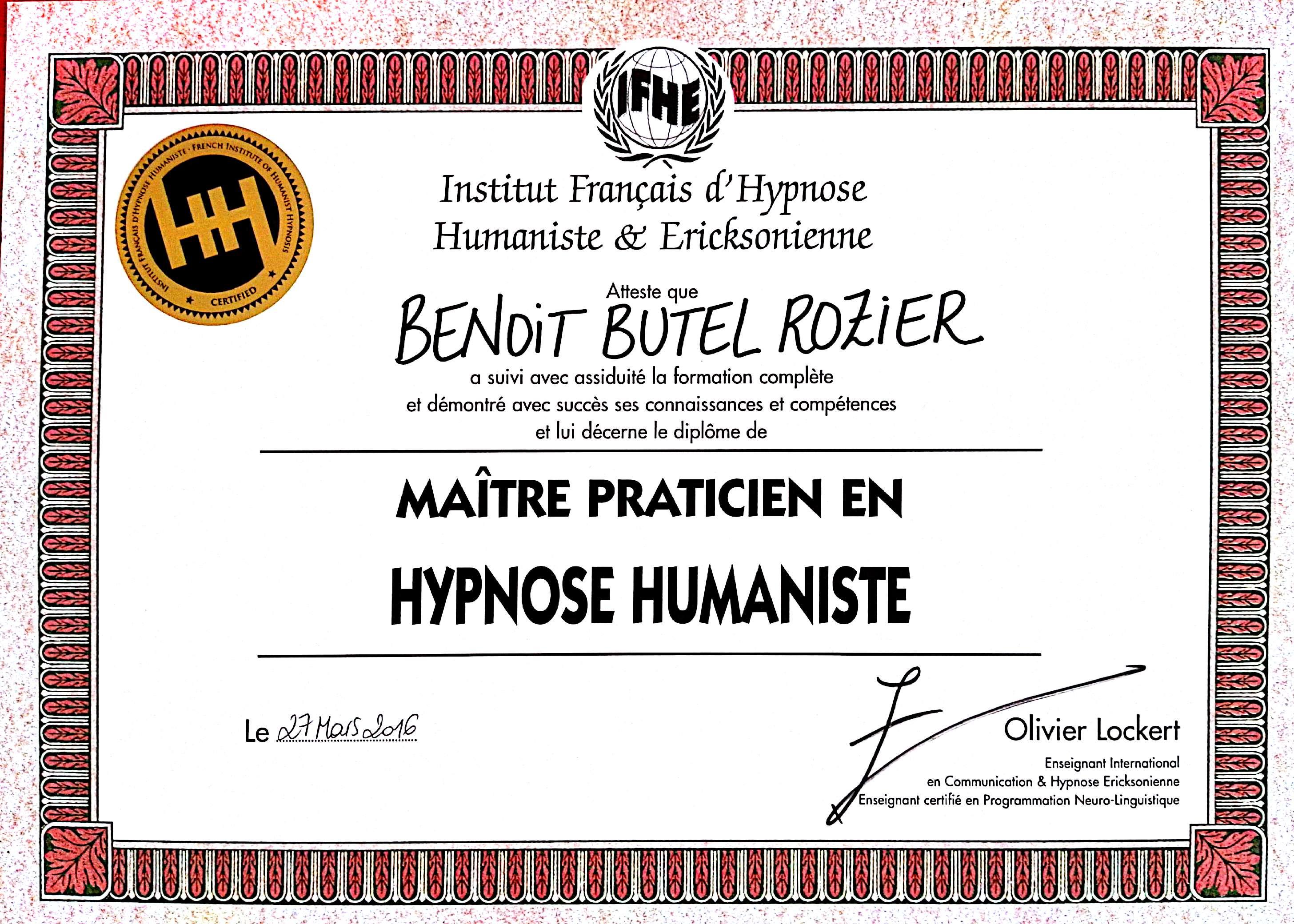 Maître Praticien Hypnoses Hypnose Humaniste