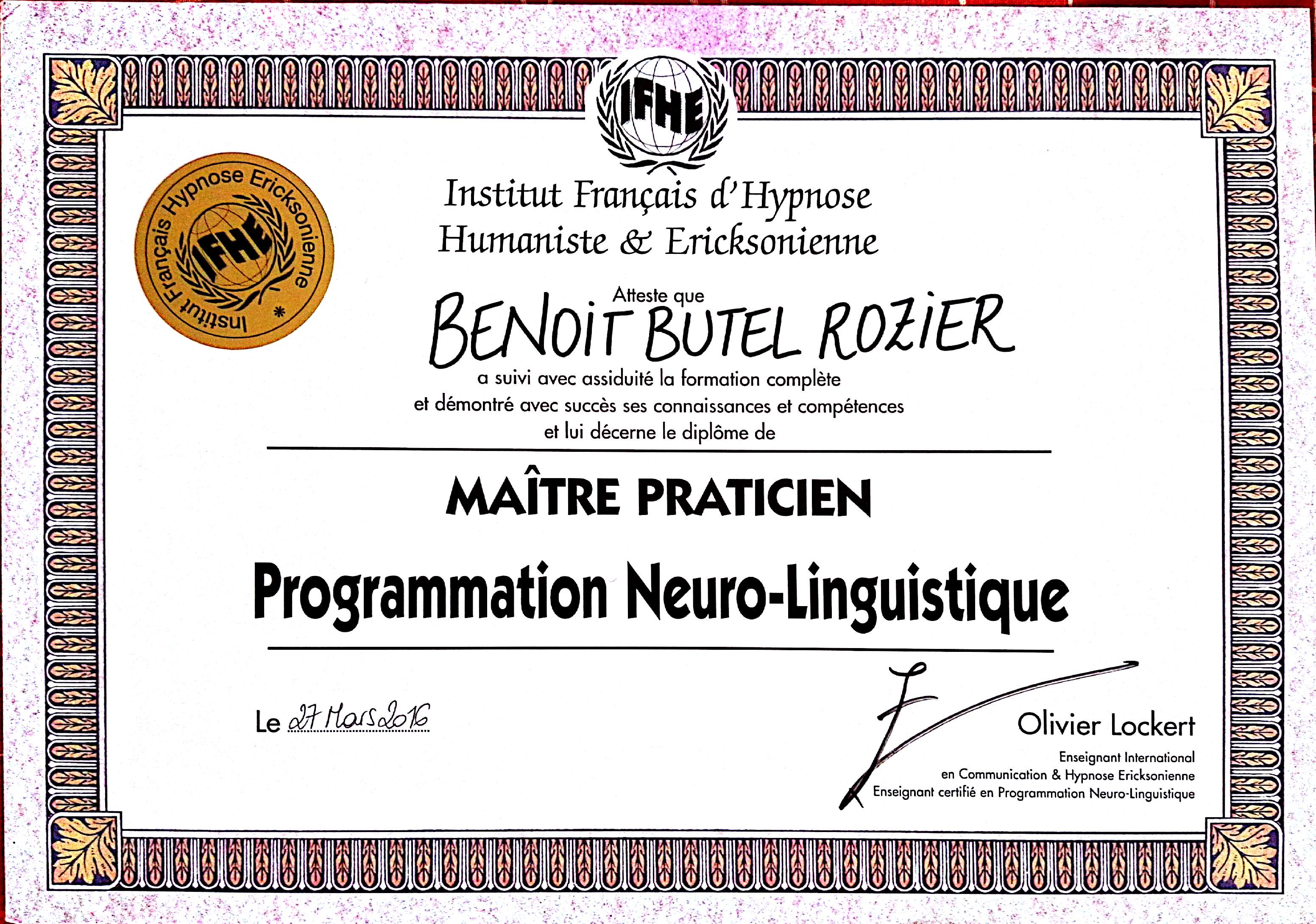 Maître Praticien Hypnoses Programmation Neuro Linguistique